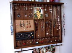 Jewelry holder. Large earrings display with shelf. WALNUT stain jewelry storage.Wooden wall mount earring holder organizer. earrings storage