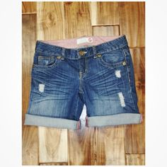 Denim Shorts Perfect length if you don't want to wear short shorts or long shorts. You can roll up or down. No flaws :) G by Guess Shorts Jean Shorts