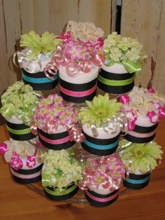 diaper cupcakes on a cupcake stand!!