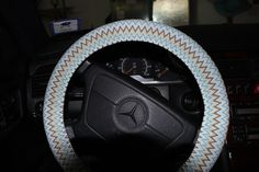 Handmade Steering Wheel Cover. Multi Color Chevron by SouthernA