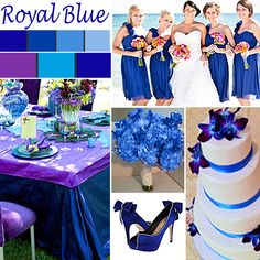 Royal Blue Wedding Color - Royal Blue is a particularly versatile wedding color. When paired with purple and turquoise, it creates a vibrant and luscious combination as seen in the tablescape above.