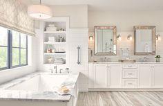 Belfield Double Handle Deck Mounted Roman Tub Faucet Trim with Hand Shower Dream Bathrooms, Beautiful Bathrooms, Mansion Bathrooms, Romantic Bathrooms, Coastal Bathrooms, Large Bathrooms, Bathroom Renos, Master Bathroom Tub, Master Bathtub Ideas