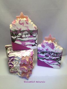 """Artisan Luxury Soap """"Lady Stardust"""" Homemade Soap with Grass-fed Tallow, Organic Shea Butter, Cocoa Butter and Tussah Silk"""