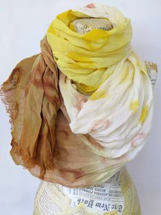 Cotton Gauze Scarf with Leather Cuff Yellow Brown by SilkRevolt