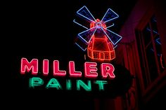 Miller Paint store neon sign on Grand Avenue in Portland, OR Cool Neon Signs, Vintage Neon Signs, Neon Light Signs, Neon Light Art, Neon Jungle, State Of Oregon, Sign Lighting, Old Signs, Googie