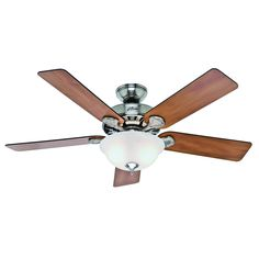 Hunter Pro's Best 5 Minute Fan 52-in Brushed Nickel Downrod or Close Mount Indoor Ceiling Fan with Light Kit
