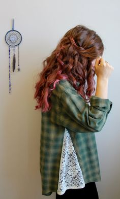 Green Plaid Flannel and Lace Babydoll by MountainGirlClothing