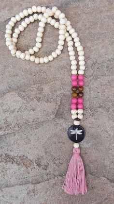 wood mala beads with dragonfly and tassel by BeadsByMelissa, $14.00