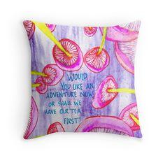 Tea First? Alice in Wonderland quote pillow