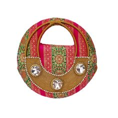 Lovely dense  design made by sequins & pearls  on green  color of this purse makes it  vibrant .These are handcrafted  products so any imperfections should be taken as normal. Visit www.saashiwear.com