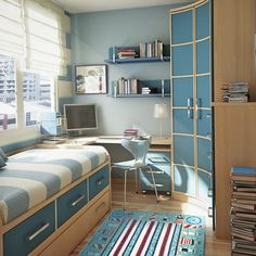 Modern Japanese Small Bedroom Design Furniture: Modern Small Dorm Bedroom Design Ideas By Sergi Mengot Teen Room Designs, Small Bedroom Designs, Small Room Design, Kids Room Design, Small Bedrooms, Design Bedroom, Bed Designs, Cozy Teen Bedroom, Bedroom Decor