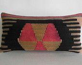 DECORATIVE PILLOW Decorative Throw Pillow Kilim Pillow Cover Turkish Pillow Case Lumbar Boho Bohemian Ethnic Tribal Rustic Outdoor decor art