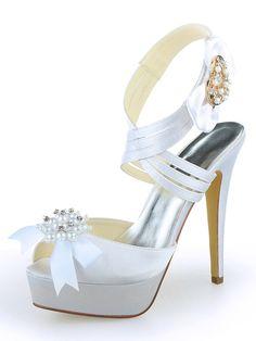 Women s Satin Peep Toe Platform Stiletto Heel With Pearl White Wedding Shoes  White Wedding Shoes c76336328411