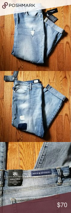 NWT Rock & Republic Slim Boyfriend Jeans 16 Size women's 16. Slim Boyfriend fit, 24in inseam when worn rolled up.  Has a patchwork/destructed look. Rock & Republic Jeans Boyfriend