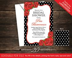 Instant Download 4x6 Black White Polka Dot Red Roses Editable PDF Invitation, Printable Red Roses Bridal Tea Invite, Autofilled Enabled 22B Bridal Tea Invitations, Red Roses, Rsvp, Invite, Polka Dots, Printables, Pdf, Black And White, Unique Jewelry
