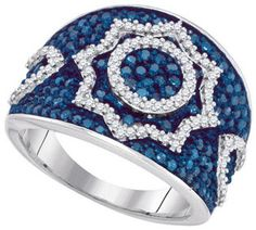 Blue & White Diamond Fashion Band 10K White Gold 1.00 ct. GD-87152  - $599.99 : Diamonds, Engagement Rings, Wedding Bands, His and Hers Sets, America's Largest Engagement Ring and Wedding Band Distributor.