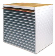 Great storage for art pads and paper.  What is great is that it's stackable, so you can increase to the height you need.