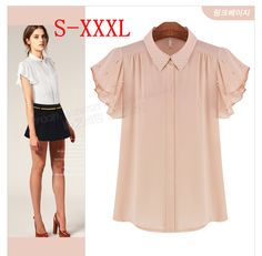 Find More Blouses & Shirts Information about Free Shipping New 2014 Fashion Formal Ruffle Embedded Diamond Shirt Pink White Color Chiffon Shirt Summer XXXL Big Size Blouses,High Quality Blouses & Shirts from Tina Fashion Woman Clothing Store on Aliexpress.com