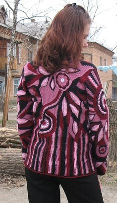 freeform crochet jacket....the colors and patterns here are just beautiful!!!