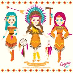 Indians digital clip art featuring three indian girls, dreamcatcher and many more. #clipart #vector #design #nativeamerican See more at CreamyInk.etsy.com