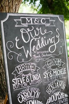 LOVE this!!! I had a thought to actually use a piece of poster baord rather than an actual chalkboard (it's cheaper), then frame it to give it some pizzaz, and finally, use chalk to create your wedding program.