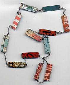 Tin Tag Necklace: Twelve tin tags joined by delicate chain, 30 inches  |  Artist: © forum, North Carolina Mountains, USA  |  via:  forum on etsy