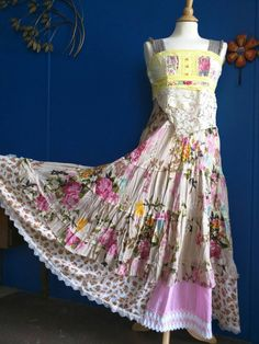 Pink Sunshine Shabby floral patchwork anthropologie inspired peasant repurposed country ruffle Boho altered  mori maxi Dress upcycled