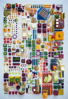 Stockholm-based art director Petter Johansson partnered with Swedish food lab Atelier Food to create a tasty still life made of—you guessed it—food. Laid out on a grid in a colorful array of delicious towers of yumminess, the foodscapes almost look like three-dimensional city maps. ateli food, art, city photography, petter johansson, door, food design, lab, food photo, atelier
