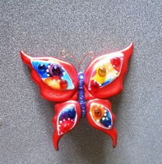 Colorful Orange Butterfly Pin made of Friendly by LadyBugHolmes, $12.50