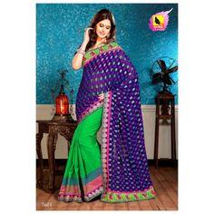 Banarasi Viscose green and blue saree with swan border. A Muhenera Collection. Ra7601