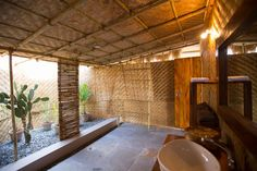 Surya Cafe and Huts Beachfront Hut Bathroom - All bamboo and all eco friendly!!