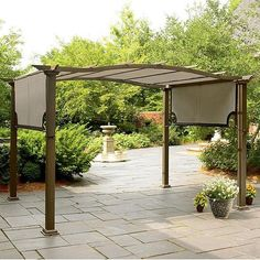 The pergola kits are the easiest and quickest way to build a garden pergola. There are lots of do it yourself pergola kits available to you so that anyone could easily put them together to construct a new structure at their backyard. Diy Pergola, Gazebo, Pergola Cost, Building A Pergola, Pergola Canopy, Metal Pergola, Outdoor Pergola, Wooden Pergola, Backyard Patio