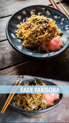 Yakisoba is a popular Japanese stir-fried noodles. Toothy wheat noodles are stir-fried with pork, vegetables and seasonings and served with shredded seaweed and benishoga (Japanese pickled ginger). Udon Noodles, Easy Japanese Recipes, Asian Recipes, Japanese Food, Tasty Videos, Food Videos, Recipe Videos, Noodle Recipes, Soup Recipes