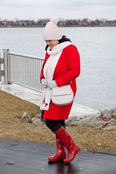Red and Pink Outerwear Red Hunter Boots, Kate Spade Purse, Red And Pink, Detroit, Winter Jackets, Hat, Purses, Fashion, Debutante