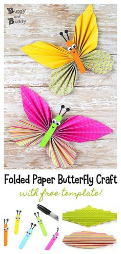 Adorable Folded Butterfly Craft With Printable Templates - Adorable Folded Butterfly Craft With Printable Templates Folded Paper Butterfly Craft For Kids Make Simple Paper Butterflies Using Folded Paper And Craft Sticks Post Includes Free Templates Perfec Spring Crafts For Kids, Paper Crafts For Kids, Summer Crafts, Craft Stick Crafts, Fun Crafts, Art For Kids, Craft Sticks, Craft Ideas, Kid Art