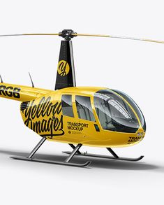 Robinson R44 Raven Helicopter Mockup – Half Side View
