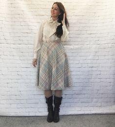 Vintage 70s Pastel Plaid Wool Schoolgirl Flared Swing Knee Skirt XS S by PopFizzVintage on Etsy
