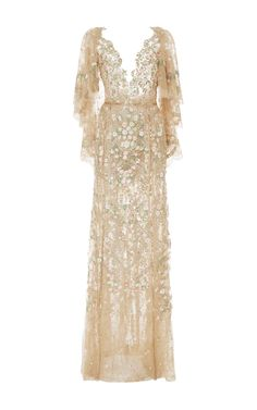 Embroidered Chantilly Lace Tulle Gown by MARCHESA for Preorder on Moda Operandi