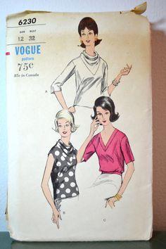 1960s Vintage Vogue Pattern 6230 Misses Blouse size 12 bust 32