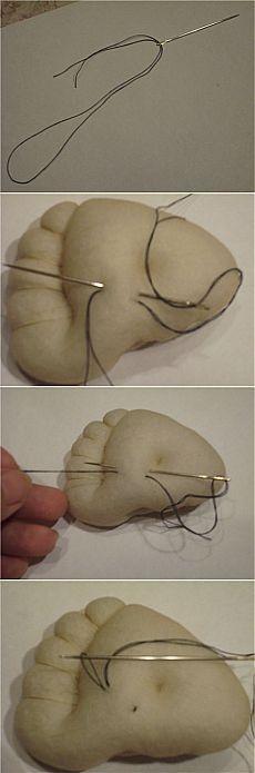 Крепление нити при утяжке (пошив тряпичных кукол).