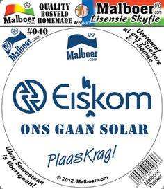Malboer Eishkom ontwerp Afrikaans, Funny Quotes, Humor, Blouse Designs, South Africa, Van, Printable, Sticker, Funny Phrases