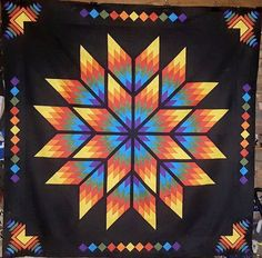 Lone Star Quilt Pattern, Star Quilt Patterns, Bargello Quilts, Star Quilts, Patchwork Quilting, Barn Quilt Designs, Quilting Designs, Japanese Quilts, Rainbow Quilt