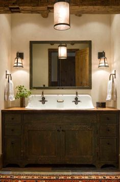 Modern Rustic Bathroom Design Ideas, Pictures, Remodel and Decor Rustic Bathroom Designs, Rustic Bathroom Vanities, Rustic Bathrooms, Bathroom Ideas, Rustic Vanity, Wood Vanity, Bathroom Sinks, Vanity Sink, Pink Vanity