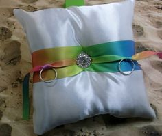 Rainbow Sunburst White Satin Rhinestone Wedding Ring Bearer Pillow on Etsy, $14.99