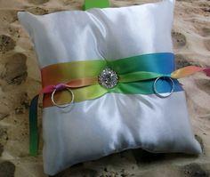 Rainbow Sunburst White Satin Rhinestone Wedding Ring Bearer Pillow on Etsy, $14.99