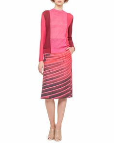 Mixed Jacquard Knit Top and Lines Side-Slit Pencil Skirt by Akris at Bergdorf Goodman.