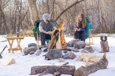 Best weather when you can camp in the snow without a jacket by the fire.