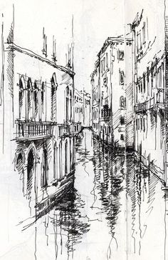Venetian Canal Ian Murphy Sketchbooks --- Visir our shop canvart art --- drawing architecture portfolio design old photography model concept presentation art architecture plan building logo facade interior architecture sketchbook architecture Pen Sketch, Drawing Sketches, Art Drawings, Drawing Ideas, Drawings Of Buildings, City Drawing, Sketchbook Drawings, City Sketch, Travel Sketchbook