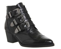 Buy Black Croc Embossed Leather Office Jagger Multi Buckle Boots from OFFICE.co.uk.