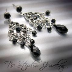 LITTLE BLACK DRESS Chandelier Earrings  perfect by TzStudioJewelry, $35.00